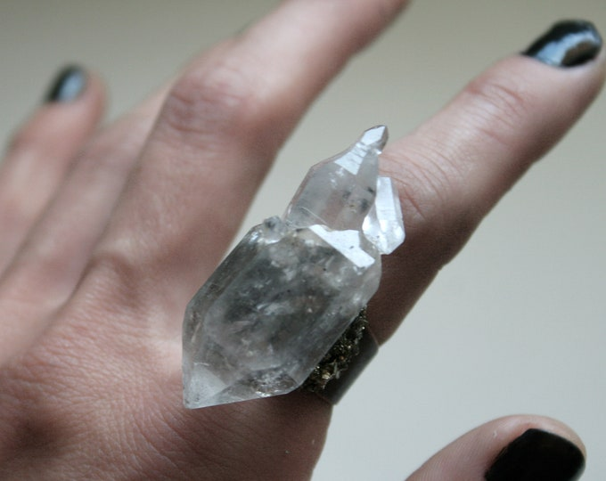 Massive Tibetan Clear Quartz Crystal Cluster Ring // Terminated Crystal Adjustable Ring // Crystal Cluster Ring with Pyrite
