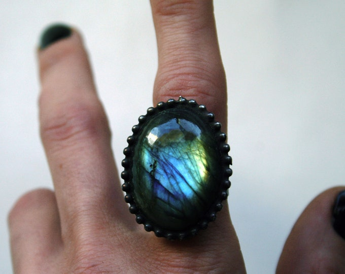 Rainbow Labradorite Ring // Blue Aqua Gold Rainbow Labradorite Round Adjustable Ring