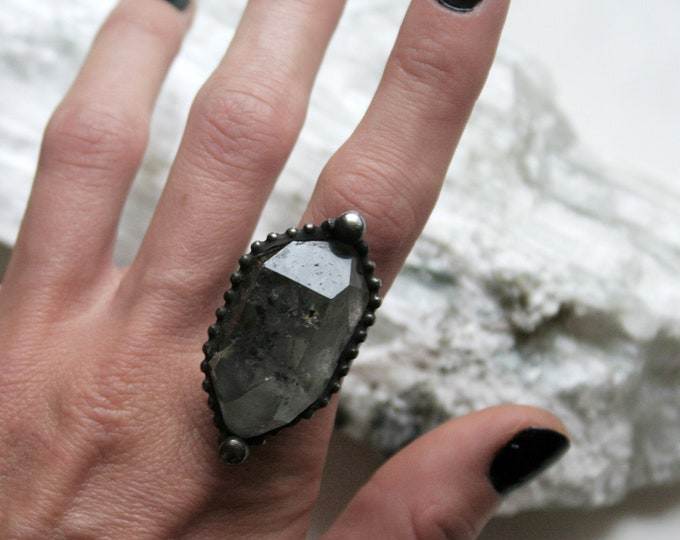 Large Double Terminated Tibetan Quartz Crystal Ring // Tibetan Quartz Adjustable Ring
