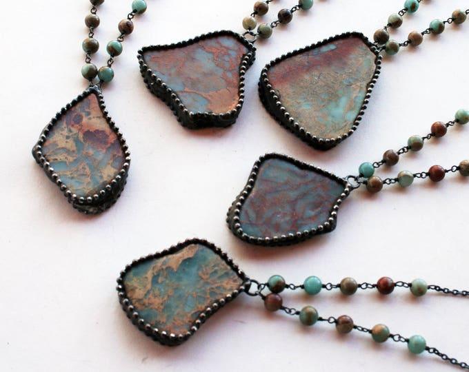 Aqua Terra Jasper Slab Crystal Necklace