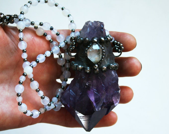 Massive Amethyst Point Tibetan Quartz Necklace // Extra Large Raw Natural Amethyst Point Statement Layering Necklace