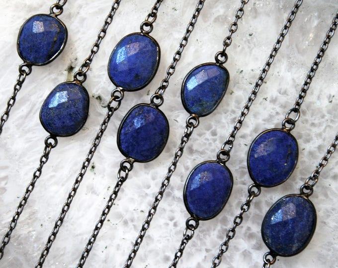 Petite Lapis Lazuli Gunmetal Necklace // Minimal Lapis Layering Necklace