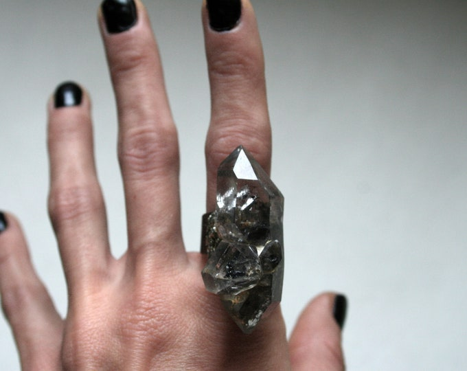 Massive Tibetan Quartz Crystal Cluster Ring // Terminated Crystal Adjustable Ring // Crystal Cluster Ring with Pyrite