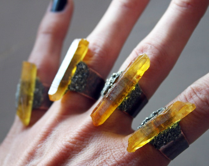 Lemon Aura Quartz Crystal Ring // Bright Yellow Crystal Adjustable Size Ring with Pyrite
