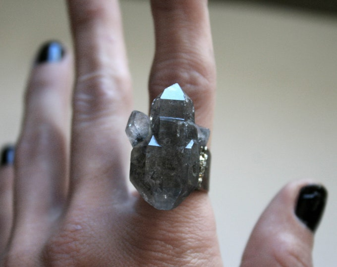 Tibetan Smoky Quartz Scepter Cluster Ring // Double Terminated Crystal Adjustable Ring // Crystal Cluster Ring with Pyrite