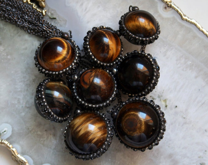 Tigers Eye Crystal Ball Necklace - Large // Round Tigers Eye Layering Necklace // Tigers Eye Gemstone Sphere Necklace