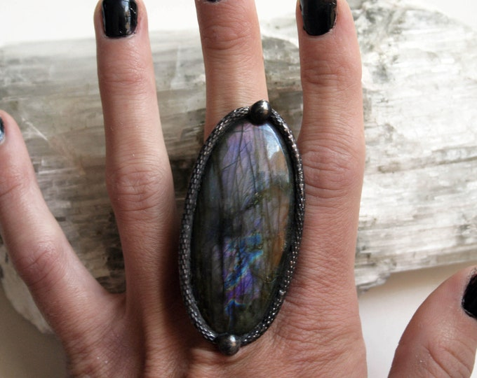 Massive Purple Rainbow Labradorite Ring // Labradorite Adjustable Ring