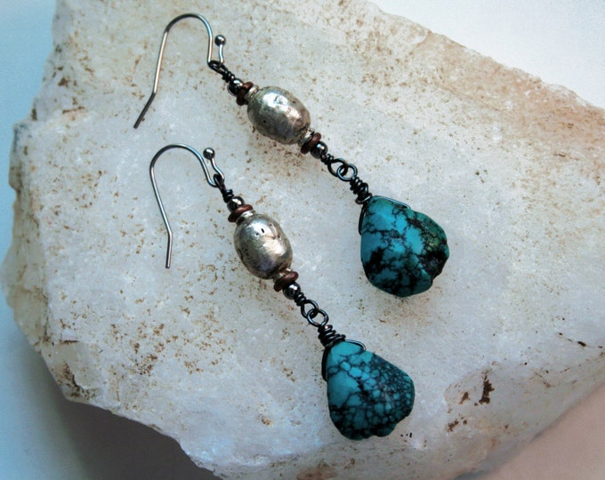 Raw Turquoise Teardrop Earrings // Genuine Turquoise Beaded Boho Drop Statement Earrings