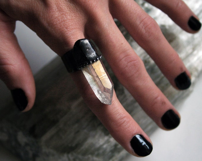 Angel Aura Quartz Terminated Crystal Ring // Large Aura Clear White Quartz Statement Ring
