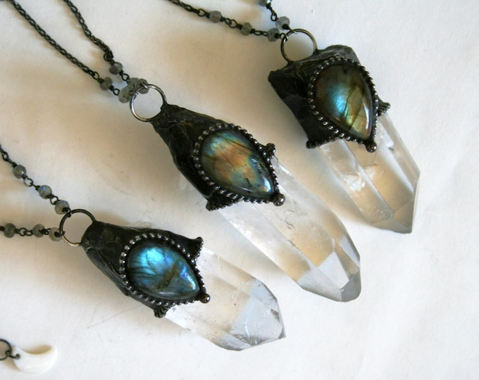 Quartz Point with Labradorite Teardrop Stone Necklace - Large // Clear White Crystal with Labradorite Statement Necklace