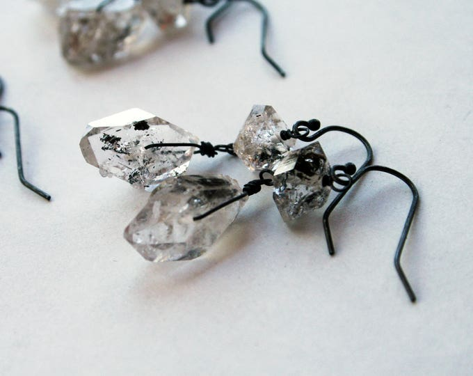 Herkimer Diamond Sterling Silver Drop Earrings // Herkimer Diamond Dangle Earrings