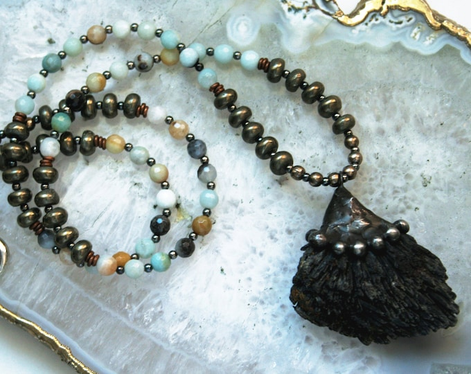 Black Kyanite Amazonite and Pyrite Beaded Crystal Necklace // Kyanite Fan Crystal Beaded Necklace