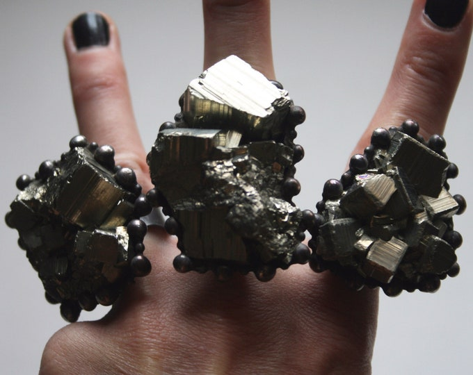 Massive Cubic Pyrite Crystal Ring // Large Raw Pyrite Crystal Statement Ring