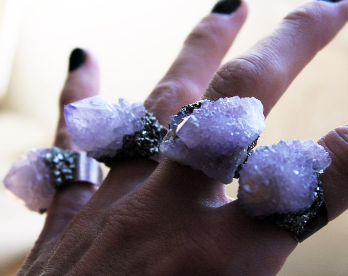 Spirit Quartz Crystal Copper Ring // Raw Amethyst Ametrine Cactus Quartz Point Adjustable Size Ring with Pyrite