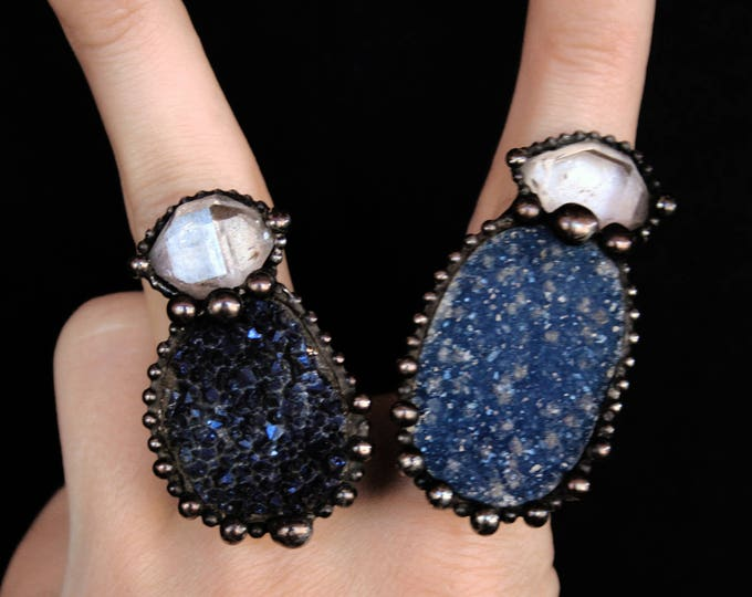 Large Druzy and Quartz Point Ring // Blue Druzy and Double Terminated Clear Quartz Adjustable Statement Ring