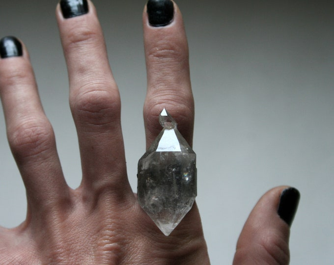 Massive Tibetan Clear Quartz Crystal Twin Ring // Terminated Crystal Adjustable Ring // Crystal Cluster Ring with Pyrite
