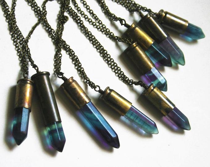 Blue Purple Rainbow Fluorite Bullet Crystal Necklace // Rainbow Purple Blue Fluorite Crystal Point Bullet Necklace