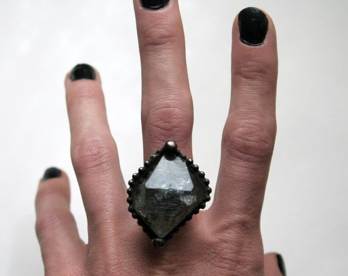 Double Terminated Tibetan Quartz Crystal Ring // Tibetan Quartz Adjustable Ring