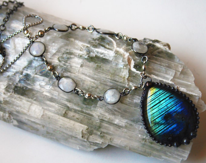 Large Blue and Gold Labradorite Teardrop and Moonstone Necklace // Rainbow Labradorite Necklace // Moonstone Labradorite Crystal Necklace