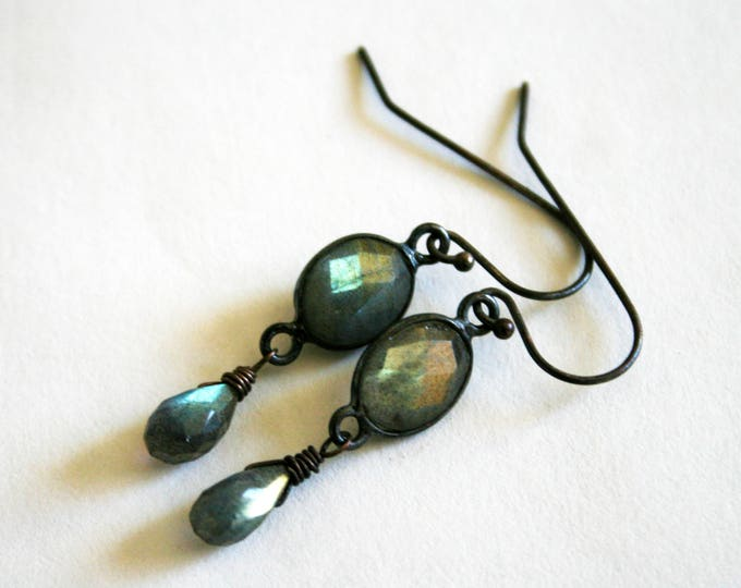 Petite Gold Labradorite Sterling Silver Drop Earrings // Gold Labradorite Dangle Earrings
