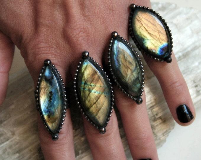 Labradorite Marquis Ring // Labradorite Adjustable Diamond Eye Ring // Gold Rainbow Blue Labradorite