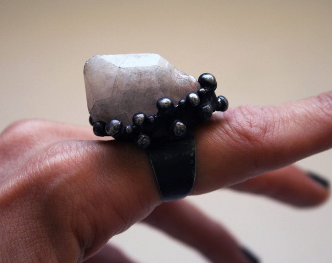 Terminated Candle Quartz Crystal Point Ring // Hematite Candle Quartz Adjustable Ring