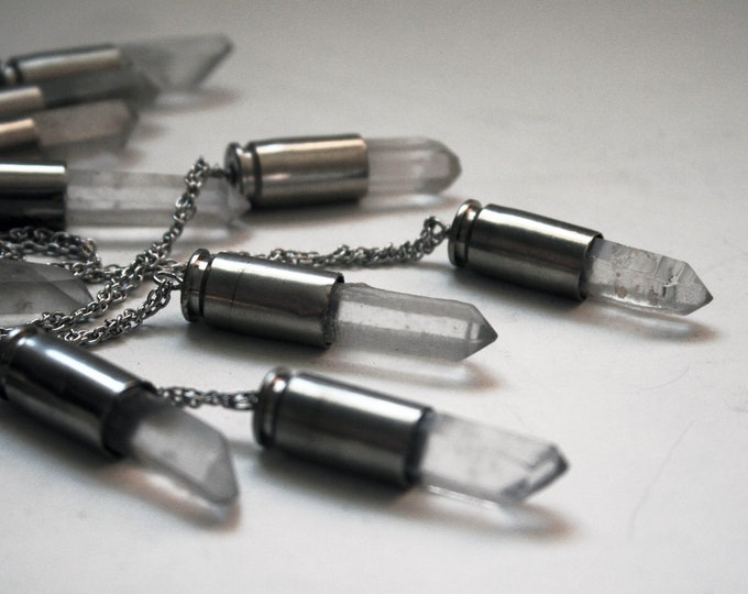 40 S&W Clear Quartz Crystal Brass Bullet Necklace // 40 Caliber White Clear Quartz Point Brass Bullet Shell // Bullet Casing Necklace