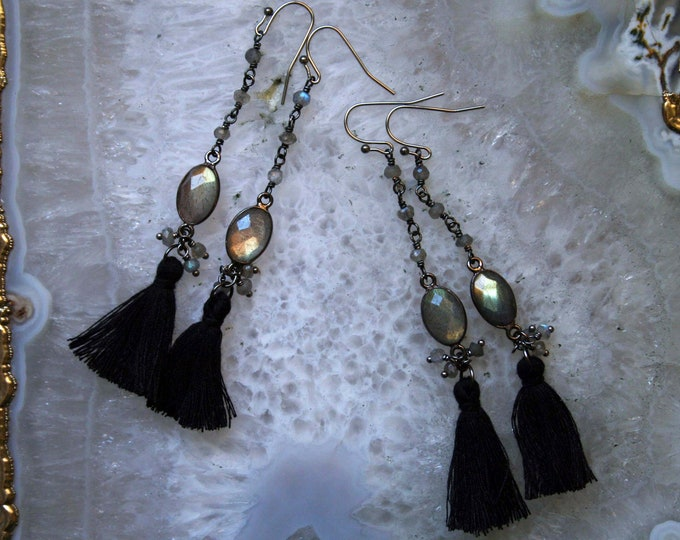 Gold Labradorite Tassel Earrings