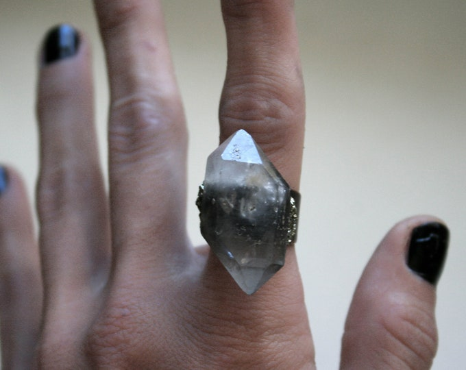 Tibetan Smoky Center Quartz Crystal Ring // Double Terminated Crystal Adjustable Statement Ring