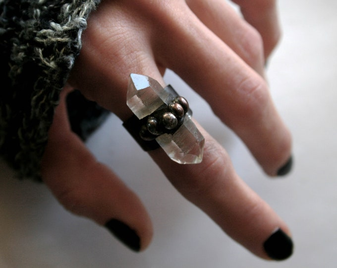 Double Terminated Clear Quartz Crystal Ring // Large Clear Quartz Adjustable Ring