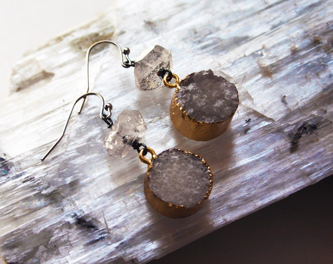 Herkimer Diamond Drruzy Drop Earrings // Herkimer Diamond White Druzy Crystal Dangle Earrings