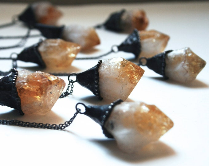 Raw Citrine Point Necklace - LARGE // Raw Natural Citrine Point Minimal Layering Necklace // Natural Untreated Citrine Crystal Jewelry