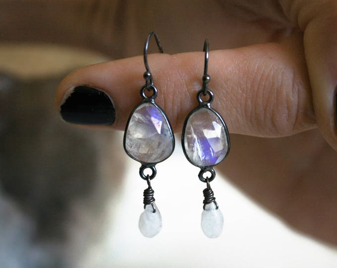 Petite Rainbow Moonstone Sterling Silver Drop Earrings // Rainbow Moonstone Dangle Earrings