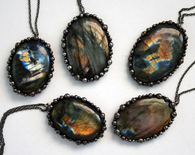 Rainbow Labradorite Round Necklace - Medium