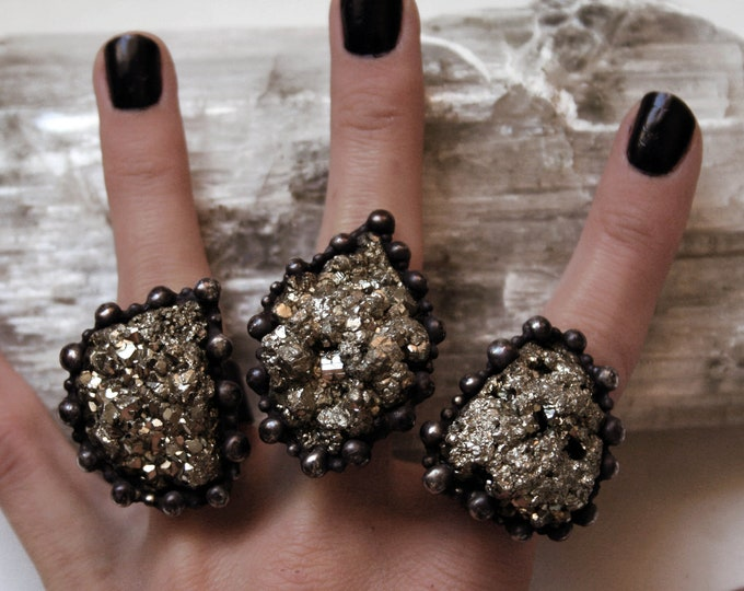 Large Raw Pyrite Crystal Ring // Large Pyrite Crystal Statement Ring