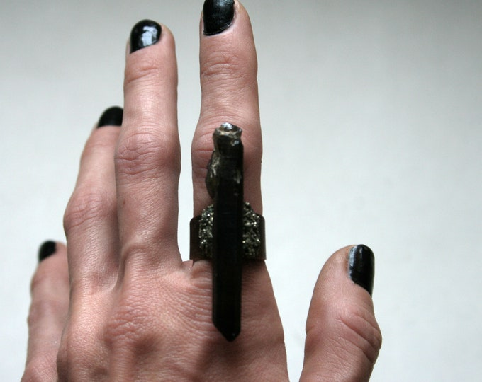 Long Black Smoky Quartz Crystal Ring // Terminated Smoky Quartz Crystal Adjustable Size Ring with Pyrite