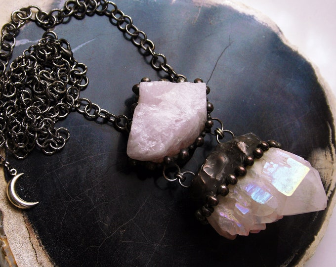 Extra Large Angel Aura Elestial Quartz and Rose Quartz Necklace // Iridescent Rainbow Crystal Cluster and Rose Quartz Necklace