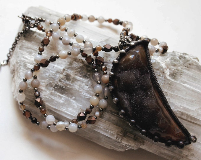 Large Crescent Moon Druzy Necklace // Crescent Moon Agate Geode Beaded Necklace