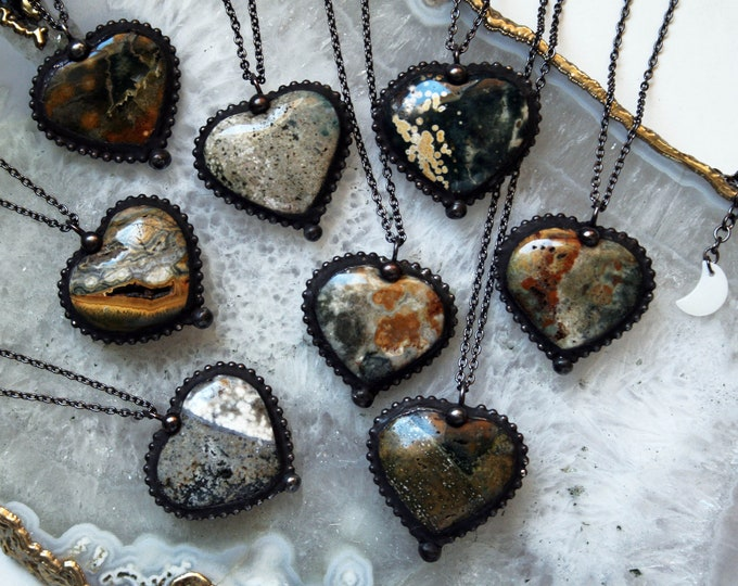 Jasper Heart Crystal Necklace // Minimal Heart Shaped Jasper Layering Necklace