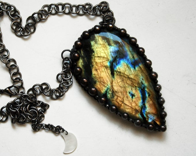 Massive Rainbow Labradorite Teardrop Necklace // Rainbow Labradorite Statement Necklace