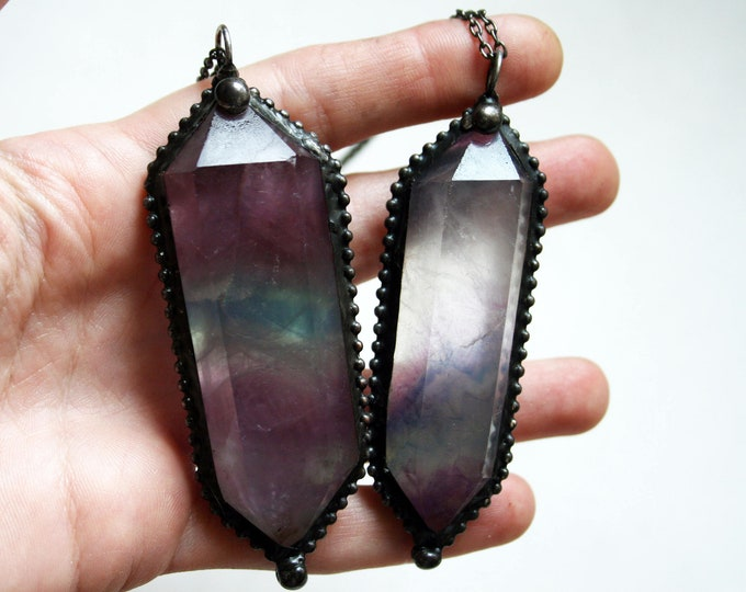 Large Rainbow Fluorite Double Terminated Necklace // Large Clear Purple Green Fluorite Crystal Point Necklace