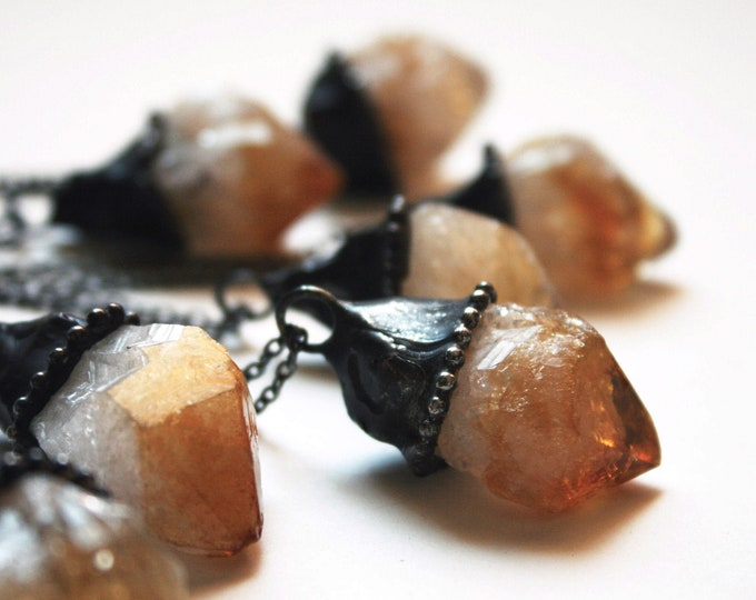 Raw Citrine Point Necklace - SMALL // Raw Natural Citrine Point Minimal Layering Necklace // Natural Untreated Citrine Crystal Jewelry