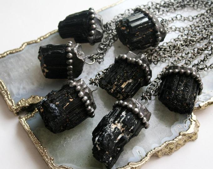 Large Raw Black Tourmaline Necklace // Large Tourmaline Crystal Statement Necklace