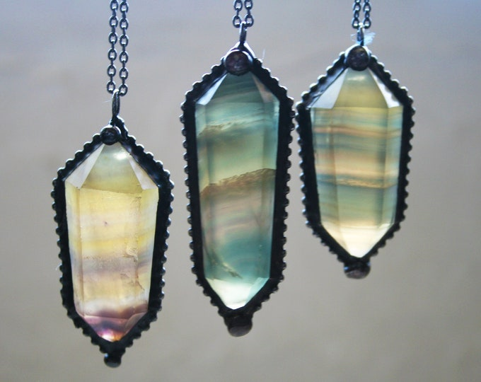 Rainbow Fluorite Double Terminated Necklace // Medium - Large Clear Yellow Purple Green Fluorite Crystal Point Necklace