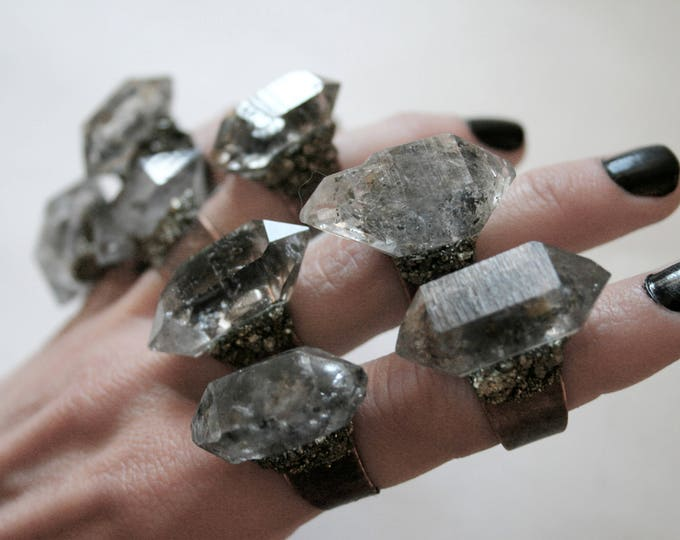 Tibetan Light Smoky Quartz Crystal Ring - Large Size Crystal // Double Terminated Light Smoky Crystal Adjustable Size Ring with Pyrite