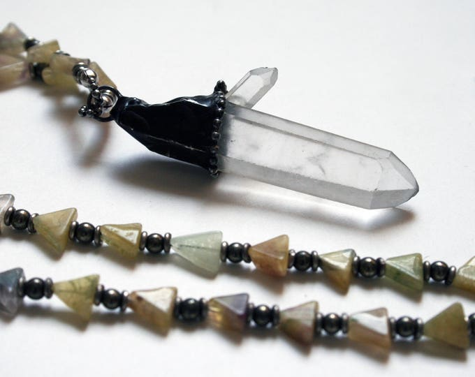 Large Quartz and Rainbow Fluorite Arrow Necklace // Clear Quartz and Fluorite Triangle Beaded Necklace