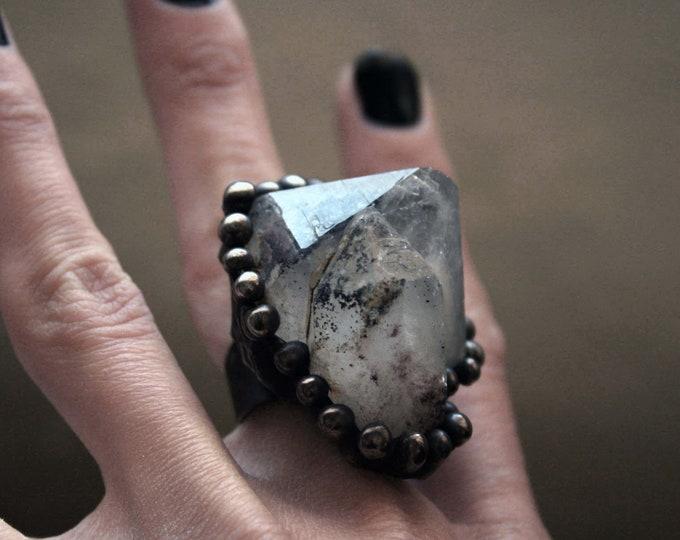 Colorado Specularite Hematite Terminated Quartz Crystal Cluster Ring