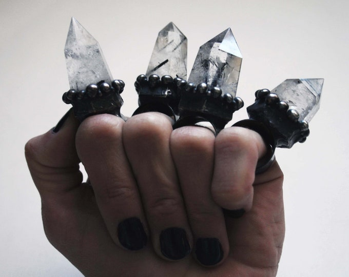 Massive Tourmalinated Quartz Crystal Point Ring // Large Tourmalinated Quartz Tower Crystal Adjustable Ring