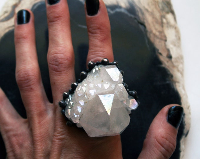Massive Angel Aura Crystal Cluster Ring // Large Angel Aura Quartz Statement Ring // Ring with White Rainbow Iridescent Crystal