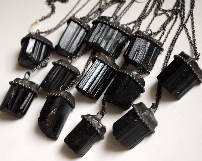 Medium Raw Black Tourmaline Necklace